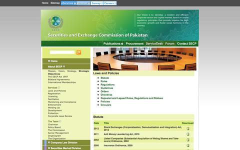 Screenshot of Services Page secp.gov.pk - The Official Website of SECP - captured Sept. 19, 2014