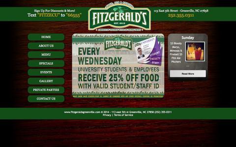 Screenshot of Home Page fitzgeraldsgreenville.com - Fitzgeralds 113 east 5th st Greenville NC (252) 355-0311 - captured Oct. 6, 2014