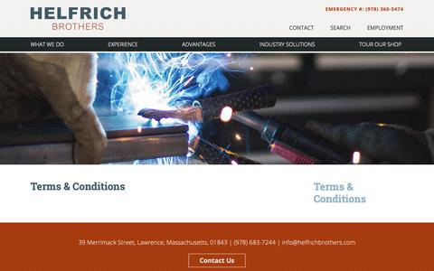 Screenshot of Terms Page hbbwinc.com - Terms & Conditions - Helfrich Brothers - captured Sept. 28, 2018