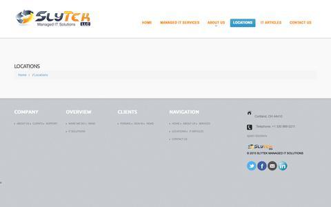 Screenshot of Locations Page slytek.com - Locations - SlyTek Managed IT SolutionsSlyTek Managed IT Solutions - captured Oct. 19, 2018