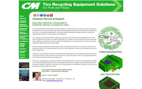 Screenshot of Support Page cmtirerecyclingequipment.com - Customer Service, Parts, Technical Support, Box Swap Program - captured Oct. 23, 2014