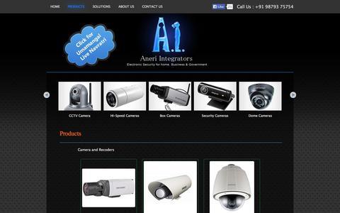 Screenshot of Products Page aneriintegrators.com - Aneri Integrators | CCTV Camera | Time Attendee & Access Control | Fire Alarm         | Video Door Phones | Audio Systems - captured Oct. 30, 2014