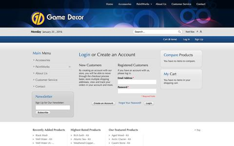 Screenshot of Login Page gamedecor.com - Game Decor - captured Jan. 25, 2016