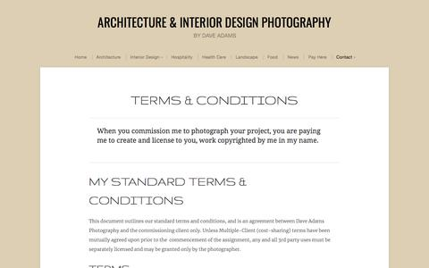 Screenshot of Terms Page daveadamsphotography.com - Terms & Conditions | Architecture & Interior Design Photography - captured Aug. 5, 2018