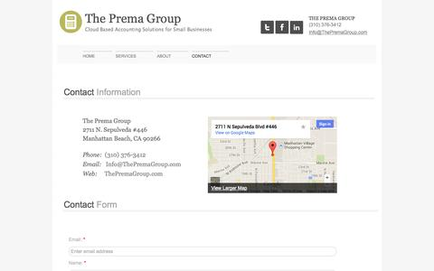 Screenshot of Privacy Page Contact Page thepremagroup.com - Contact The Prema Group CPA, Full Service Accounting Services, Quickbooks Online Solutions for Small Businesses near South Bay, CA - captured Oct. 26, 2014