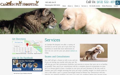 Screenshot of Services Page camdenpet.com - Veterinarian Services Near Me in Minneapolis, MN | Camden Pet Hospital - captured Sept. 26, 2018