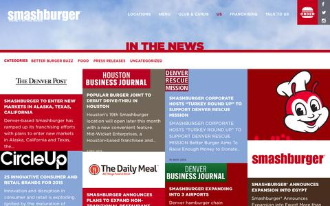Screenshot of Press Page smashburger.com - In The News - Smashburger - captured Dec. 9, 2015