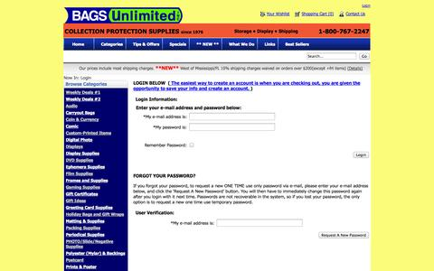 Screenshot of Login Page bagsunlimited.com - Bags Unlimited Collection Protection Store - captured Oct. 31, 2014