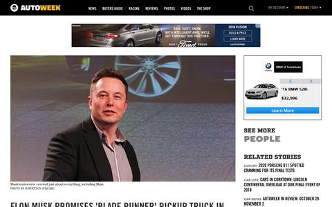 Screenshot of Team Page autoweek.com - Elon Musk interview with Recode: Pickup truck plans, Model 3 production, 2018 recap - captured Nov. 6, 2018