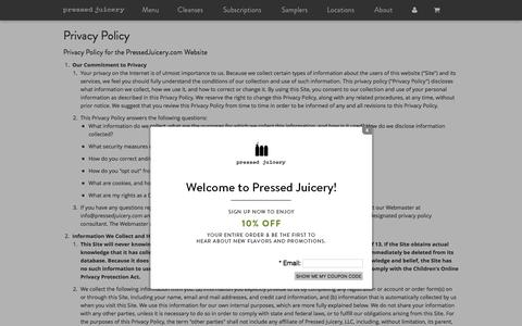 Pressed Juicery - Privacy Policy