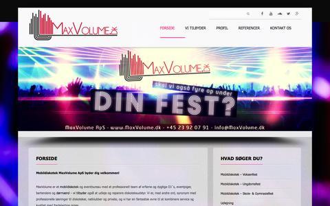 Screenshot of Home Page maxvolume.dk - Billigt mobildiskotek for alle   Mobildiskotek MaxVolume ApS - captured Oct. 6, 2014