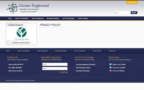 Screenshot of Privacy Page myenglewoodchamber.com - Privacy Policy | Greater Englewood Chamber of Commerce - captured Oct. 3, 2014