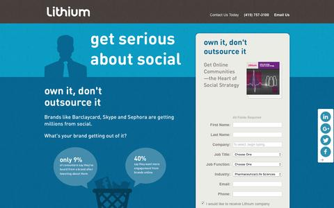 Screenshot of Landing Page lithium.com - Lithium - Get Serious - captured March 21, 2016
