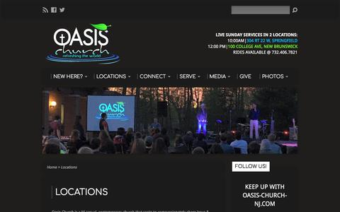 Screenshot of Locations Page oasis-church-nj.com - NJ Church Campuses - captured June 27, 2017
