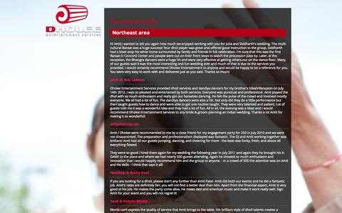 Screenshot of Testimonials Page dholee.com - Dholee Entertainment Services - captured Oct. 5, 2014
