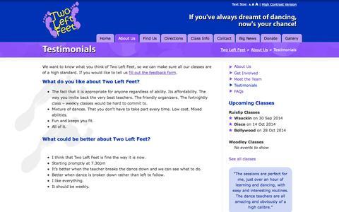Screenshot of Testimonials Page twoleftfeet.org - Testimonials | Two Left Feet - captured Sept. 30, 2014
