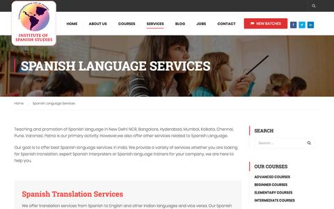 Screenshot of Services Page instituteofspanishstudies.com - Spanish Language Services in Bangalore, Delhi NCR, Hyderabad, India - captured Sept. 19, 2018