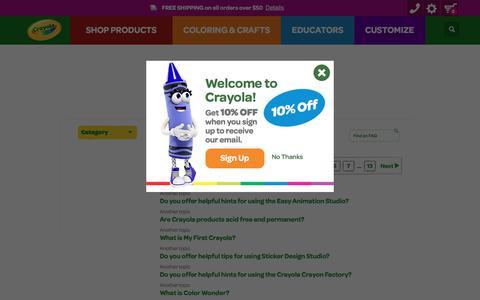 Screenshot of FAQ Page crayola.com - FAQ | crayola.com - captured April 23, 2018