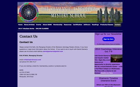 Screenshot of Contact Page shamanicastrology.com - Contact Us :: Shamanic Astrology Mystery School - captured Oct. 6, 2014