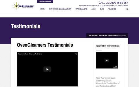 Screenshot of Testimonials Page ovengleamers.com - Oven Cleaning Testimonials - From OvenGleamers Before and After Oven Cleaning Photos - captured Aug. 5, 2015