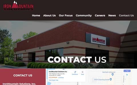 Screenshot of Contact Page ironmountainsolutions.com - Contact Us | IronMountain Solutions - captured Oct. 2, 2018