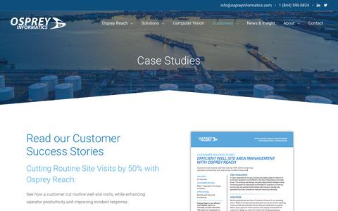 Screenshot of Case Studies Page ospreyinformatics.com - Case Studies - - captured Oct. 19, 2018