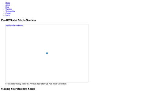 Screenshot of Services Page intranetfuture.com - Cardiff Social Media Services - captured Aug. 26, 2018