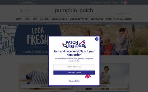 Screenshot of Home Page pumpkinpatch.co.nz - Pumpkin Patch - the premium kids clothing range available online and in stores - captured July 18, 2016