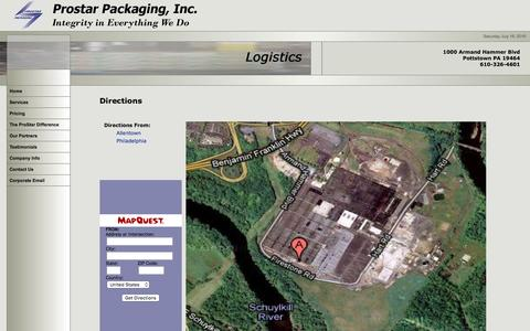 Screenshot of Maps & Directions Page prostarpackaging.com - Prostar Packaging, Inc. Directions - captured July 16, 2016