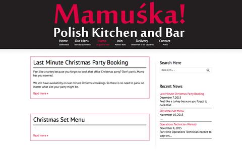 Screenshot of Press Page mamuska.net - News | Mamuśka! – Polish Restaurant & Bar - captured Feb. 4, 2016