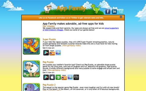 Screenshot of Home Page appfamily.se - App Family - Adorable ad-free apps for kids - captured Oct. 4, 2014