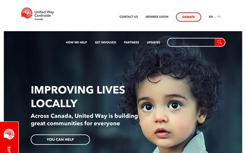 Screenshot of Home Page unitedway.ca - United Way Centraide Canada - captured July 6, 2017