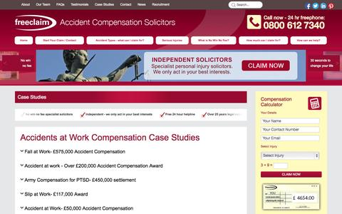 Screenshot of Case Studies Page freeclaim.co.uk - Accident Compensation | Case Studies | Freeclaim Solicitors - captured Sept. 22, 2014