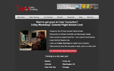 Screenshot of Home Page taoofcolor.com - Video Color Correction Tutorials & Training: Tao of Color Grading - captured Oct. 6, 2014