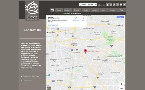 Screenshot of Maps & Directions Page gibsonusa.com - Gibson Overseas Inc. - Contact - Customer Services - captured Dec. 14, 2018