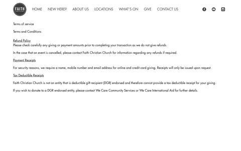 Screenshot of Terms Page faithcc.com.au - Terms Of Use - Faith Christian Church - captured Oct. 13, 2017