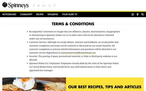 Screenshot of Terms Page spinneys-dubai.com - Terms & Conditions - ,  -  Spinneys - captured Sept. 27, 2018