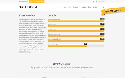 Screenshot of About Page cortezvisual.com - About - Cortez Visual - captured Oct. 3, 2014