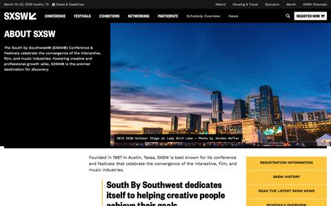 Screenshot of About Page sxsw.com - About SXSW   SXSW Conference & Festivals - captured Aug. 3, 2019