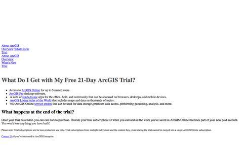 Screenshot of Trial Page esri.com - Trial   ArcGIS - captured April 18, 2018