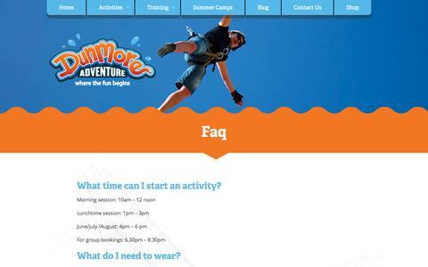 Screenshot of FAQ Page dunmoreadventure.com - Dunmore Adventure - captured Nov. 3, 2014