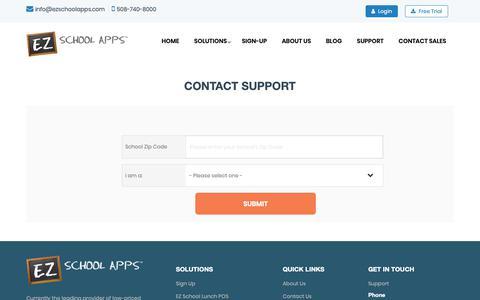 Screenshot of Support Page ezschoolapps.com - Contact Support || EZ School Apps - captured Jan. 4, 2019