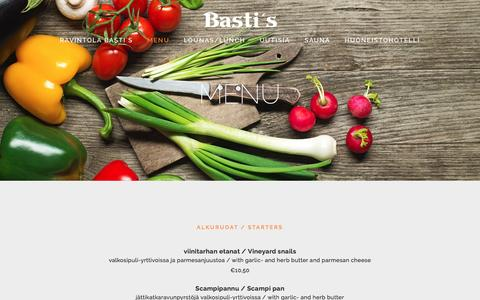 Screenshot of Menu Page bastis.fi - MENU — Ravintola Bastis - captured April 3, 2016