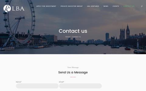 Screenshot of Contact Page lbangels.co.uk - Contact us – LBA - captured June 28, 2017