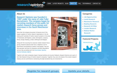 Screenshot of About Page researchopinions.co.uk - Research Opinions is the largest recruiter of paid market research focus groups and interviews in the UK - captured Sept. 25, 2014