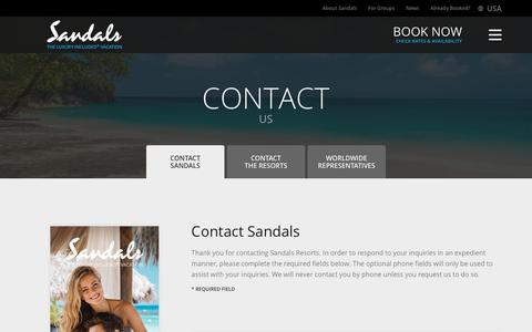 Screenshot of Contact Page sandals.com - Contact Us | Sandals - captured Aug. 3, 2018