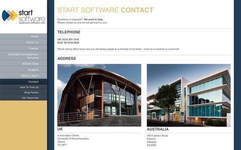 Screenshot of Contact Page start-software.com - Start Software - Software Development Services - Contact - captured Sept. 21, 2018