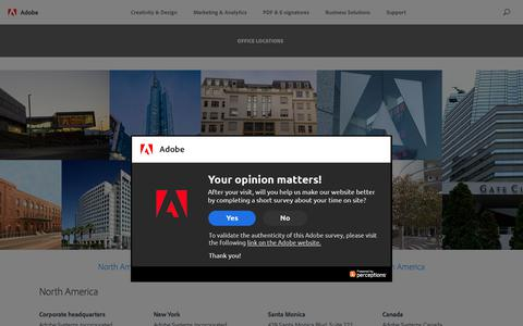 Screenshot of About Page Locations Page adobe.com - Office Locations | Adobe - captured April 9, 2018