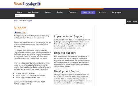 Screenshot of Support Page readspeaker.com - Online Text to Speech | Support | ReadSpeaker - captured Oct. 26, 2014