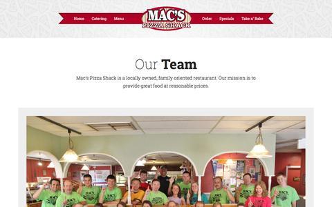 Screenshot of Team Page macspizzashack.com - Team | Mac's Pizza Shack - captured Dec. 17, 2015